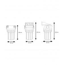 """5"""" Filtru korpusu komplekti aukstajam ūdenim - 3 dalīgie, ar uzgriezni Aquafilter FHPR5-WB sērijas"""