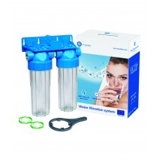 """10"""" Divu korpusu filtru sistēmas aukstajam ūdenim Aquafilter FHPRCL-B-TWIN sērijas"""