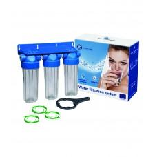 """10"""" Trīs korpusu filtru sistēmas aukstajam ūdenim Aquafilter FHPRCL-B-TRIPLE sērijas"""